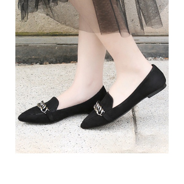 Women's Suede Flat Heel Flats Closed Toe With Chain shoes
