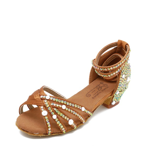 Women's Satin Sandals Latin With Imitation Pearl Dance Shoes