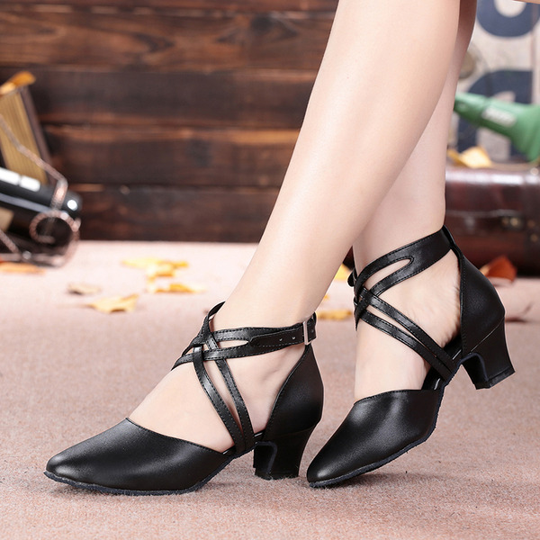 Women's Microfiber Leather Heels Sandals Ballroom Character Shoes With Buckle Hollow-out Dance Shoes