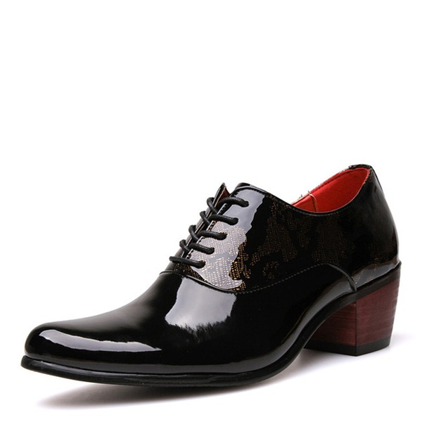 Men's Patent Leather Lace-up Casual Dress Shoes Men's Oxfords