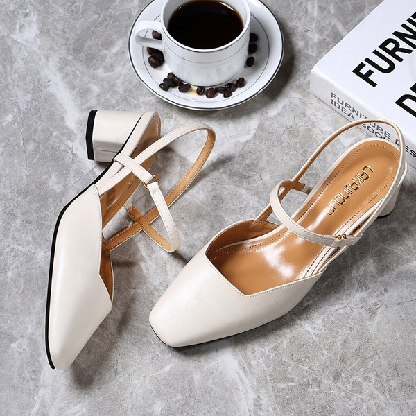 Women's Leatherette Low Heel Closed Toe Slingbacks