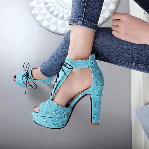 Donna Camoscio Tacco spesso Stiletto Piattaforma Punta aperta con Allacciato scarpe