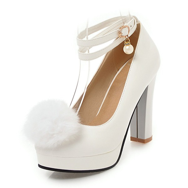 Women's PU Chunky Heel Pumps Platform With Chain Fur shoes