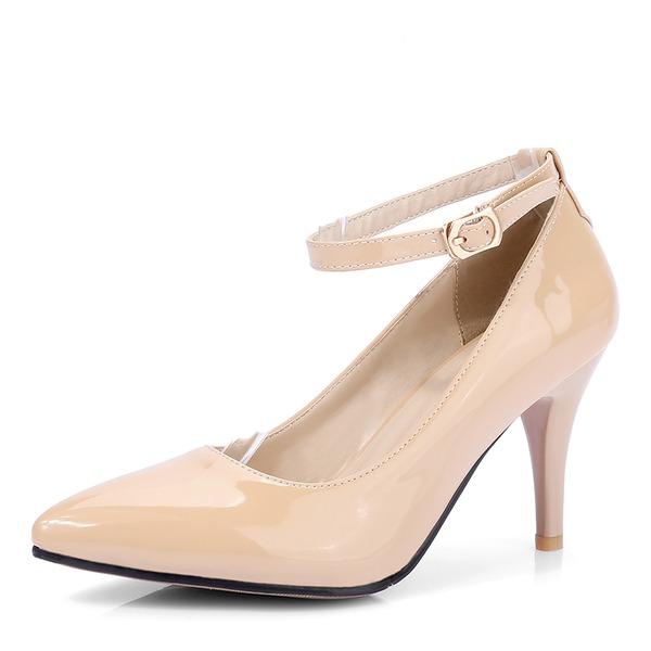 Mulheres Couro Brilhante Salto agulha Bombas Fechados Mary Jane com Fivela sapatos