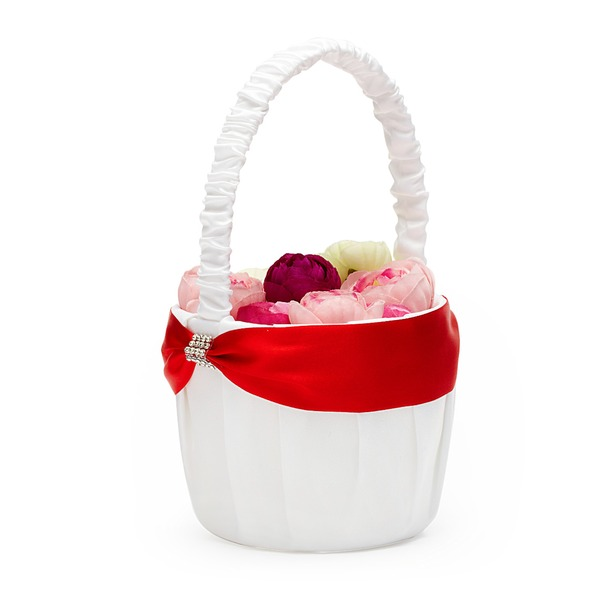 Beautiful Flower Basket in Satin With Rhinestones/Sash