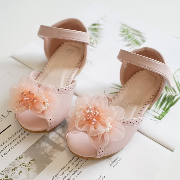 Girl's Peep Toe Leatherette Flat Heel Flats Flower Girl Shoes With Velcro Flower
