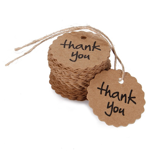 "100pcs ""Thank You""  Flower Design /Round Kraft Paper Tags"