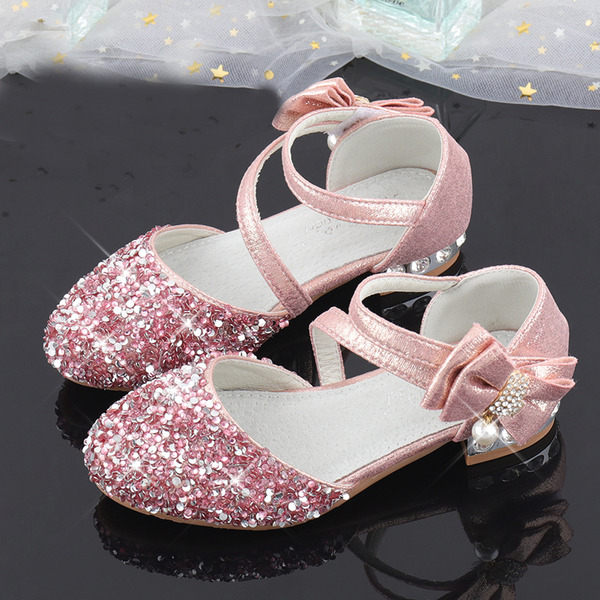 Pigens Round Toe funklende glitter Flower Girl Shoes med Bowknot Crystal