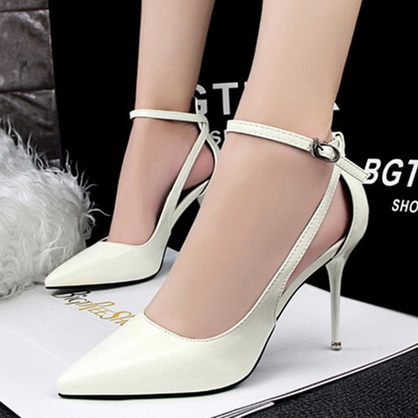 Vrouwen Patent Leather Stiletto Heel Closed Toe Pumps Sandalen Mary Jane met Gesp