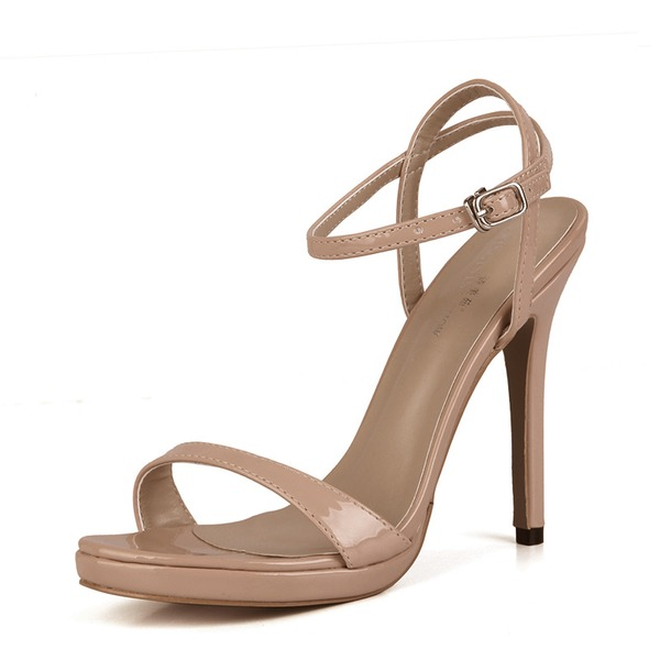 Women's Patent Leather Stiletto Heel Sandals Pumps Peep Toe Slingbacks With Buckle shoes