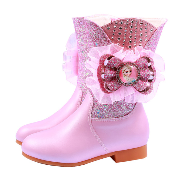 Jentas Mid Leggen Støvler Leather Flower Girl Shoes med Blomst