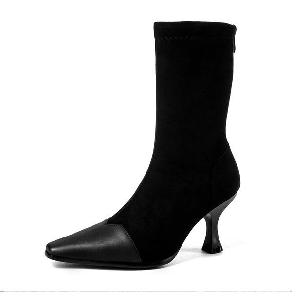 Kvinner Semsket Stiletto Hæl Støvler Mid Leggen Støvler med Delt Bindeled sko