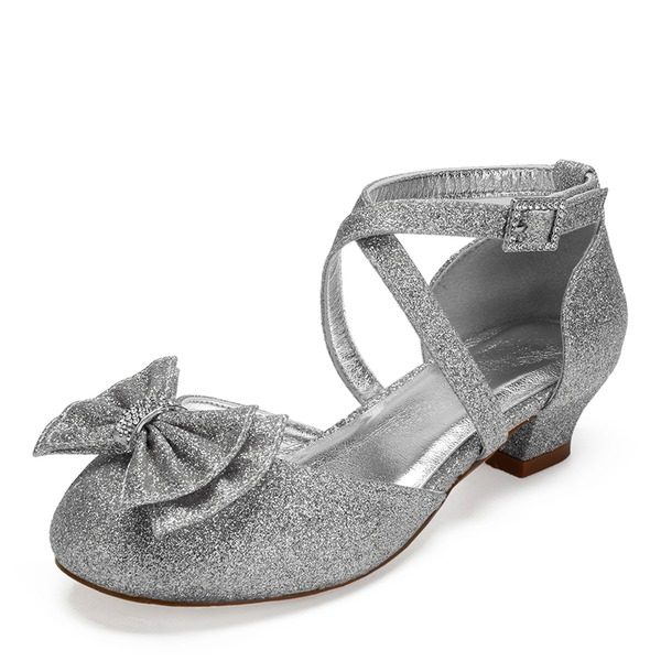 Girl's Round Toe Closed Toe Mary Jane Sparkling Glitter Chunky Heel Flower Girl Shoes With Bowknot Rhinestone Sparkling Glitter