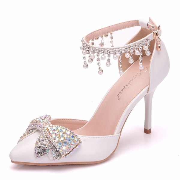 Women's Leatherette Spool Heel Closed Toe Pumps With Bowknot Tassel Crystal