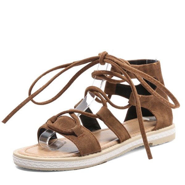 Vrouwen Suede Flat Heel Sandalen Flats met Vastrijgen schoenen