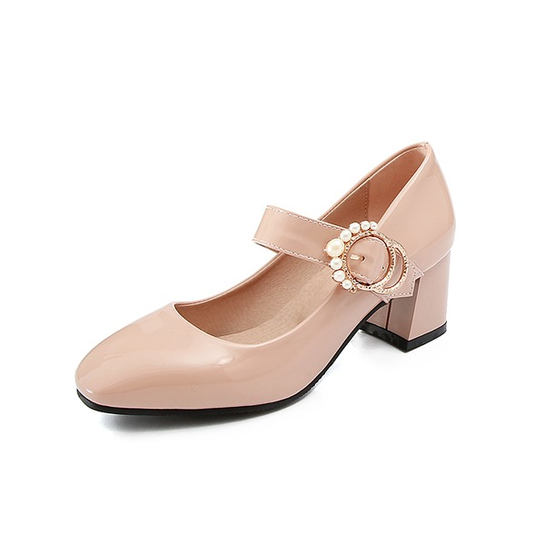 Women's Leatherette Chunky Heel Pumps Closed Toe With Imitation Pearl shoes