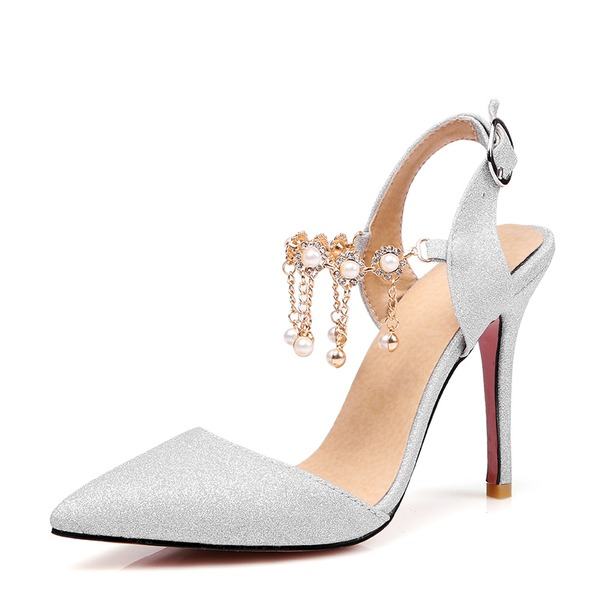 Women's Sparkling Glitter Stiletto Heel Pumps Closed Toe With Chain shoes