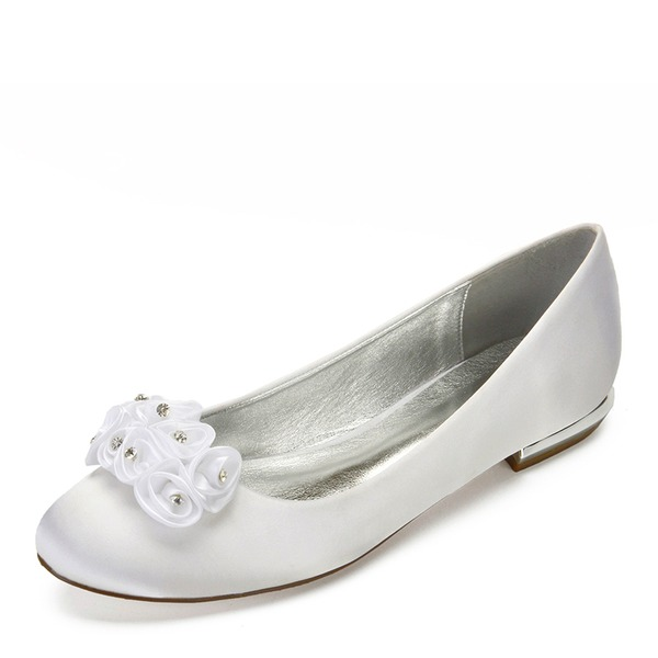 Women's Leatherette Flat Heel Closed Toe Flats With Flower Crystal