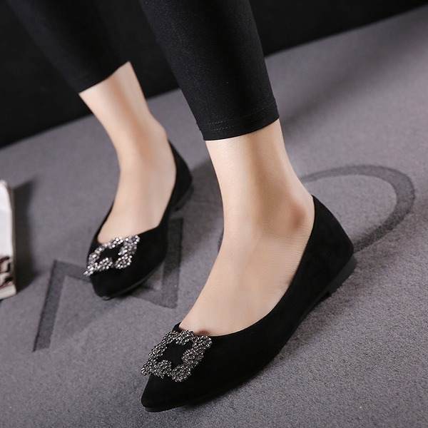 Women's Suede Flat Heel Flats Closed Toe With Rhinestone shoes