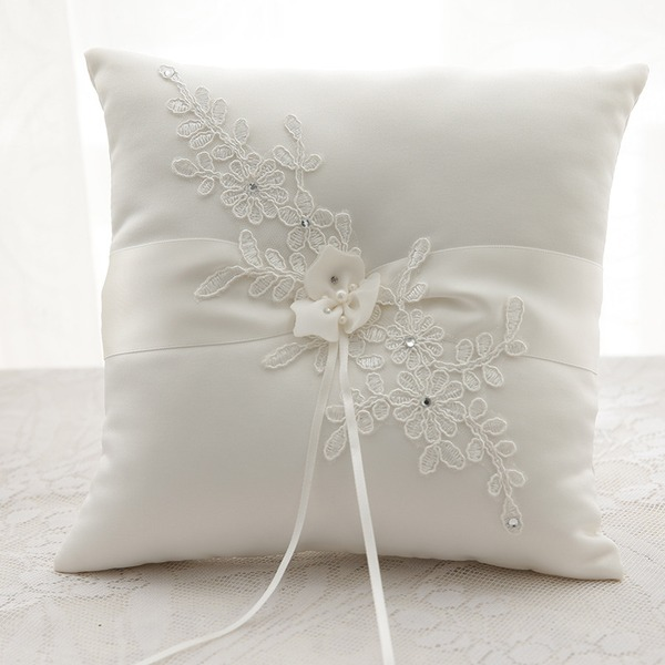 Grace Ring Pillow in Cloth With Rhinestones/Flowers/Lace