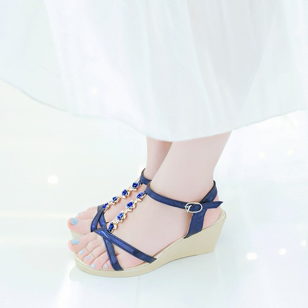 Women's Leatherette Wedge Heel Sandals Wedges Peep Toe Slingbacks With Rhinestone Buckle shoes