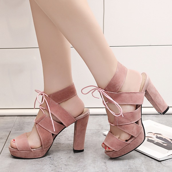 Women's Suede Chunky Heel Sandals Platform Peep Toe With Lace-up shoes