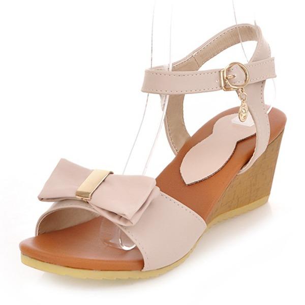 Vrouwen Kunstleer Wedge Heel Sandalen Wedges Peep Toe Slingbacks met Strass strik schoenen
