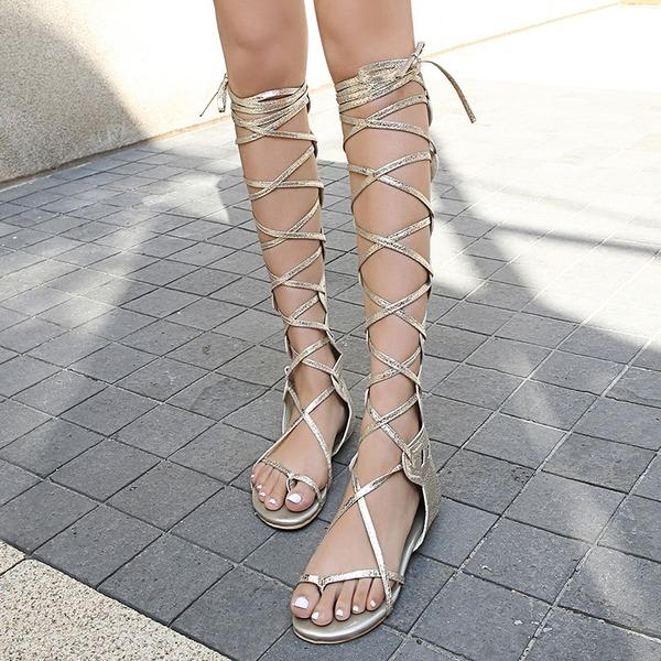 Vrouwen Kunstleer Flat Heel Sandalen Flats Peep Toe met Vastrijgen Hol-out schoenen