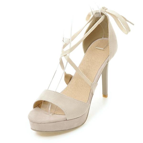 Vrouwen Suede Stiletto Heel Sandalen Plateau met Vastrijgen schoenen