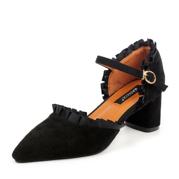 Women's Suede Chunky Heel Pumps Closed Toe With Ruched shoes