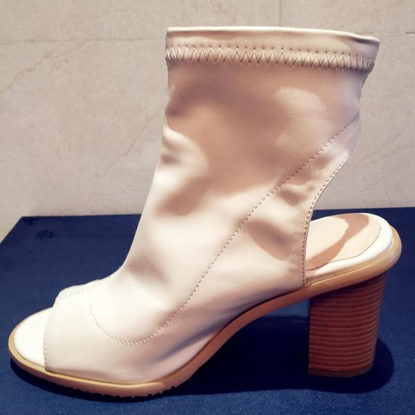 Women's Leatherette Chunky Heel Pumps Boots Peep Toe Slingbacks Mid-Calf Boots shoes