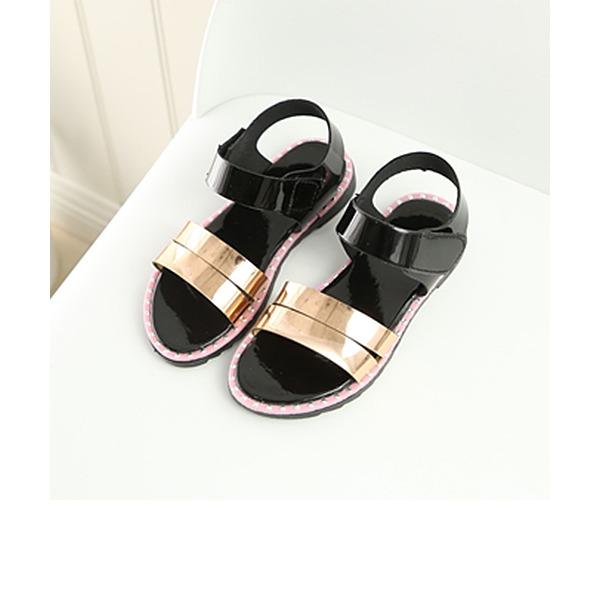 Fille de À bout ouvert similicuir talon plat Sandales Chaussures plates Chaussures de fille de fleur avec Velcro