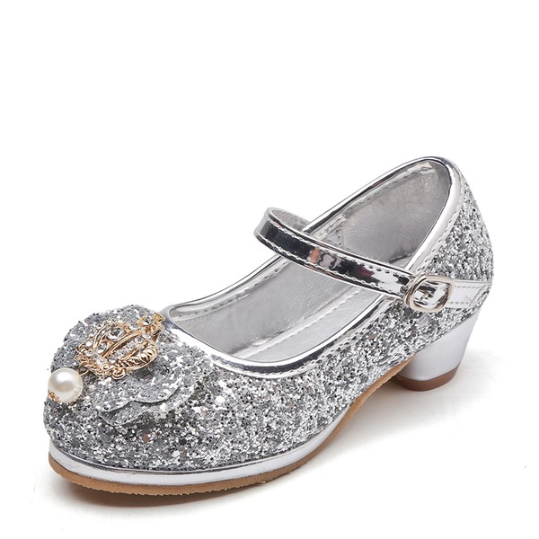 Girl's Round Toe Sparkling Glitter Low Heel Pumps Flower Girl Shoes With Bowknot Imitation Pearl Rhinestone