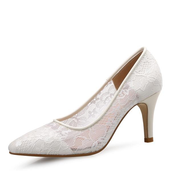 Frauen Spitze Stöckel Absatz Absatzschuhe Geschlossene Zehe Schuhe