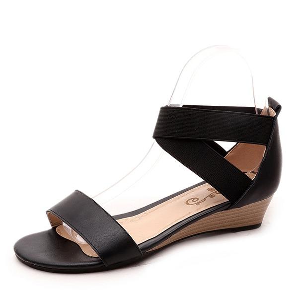 Vrouwen Echt leer Wedge Heel Sandalen Wedges Peep Toe met Anderen schoenen