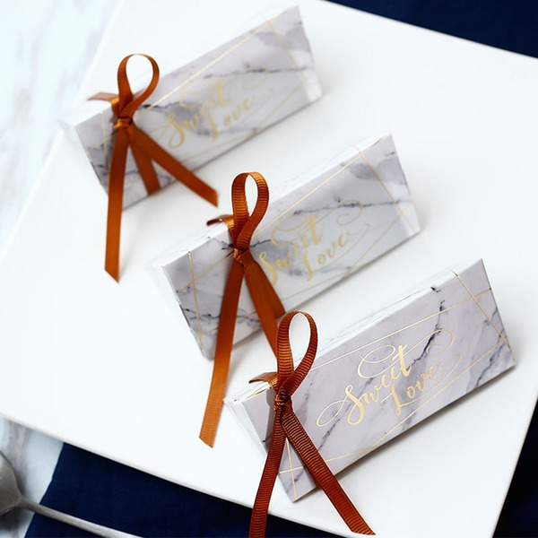 Simple/Nice/Elegant Other Card Paper Favor Boxes With Ribbons (Set of 12)