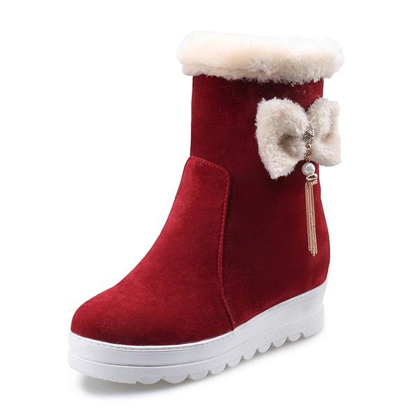Kvinder Ruskind Lav Hæl Lukket Tå Støvler Mid Læggen Støvler Snestøvler med Bowknot Imiteret Pearl Tassel sko