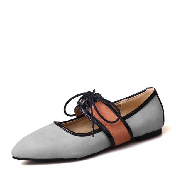 Women's Suede Flat Heel Flats Closed Toe With Ribbon Tie shoes