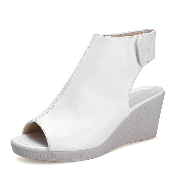 Kvinner PU Kile Hæl Sandaler Kiler Titte Tå Slingbacks med Velcro sko