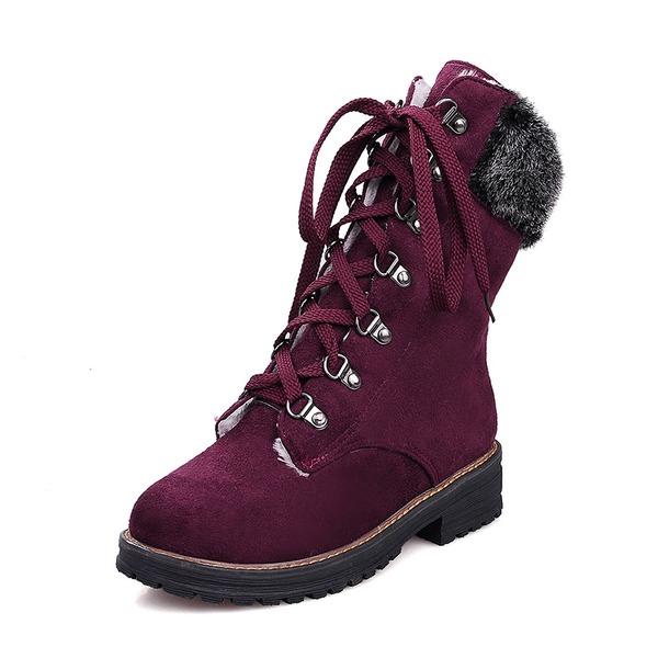 Kadın Süet Alçak Topuk Kapalı Toe Bot Mid-Buzağı Boots Kar Boots Ile Bağcıklı ayakkabı