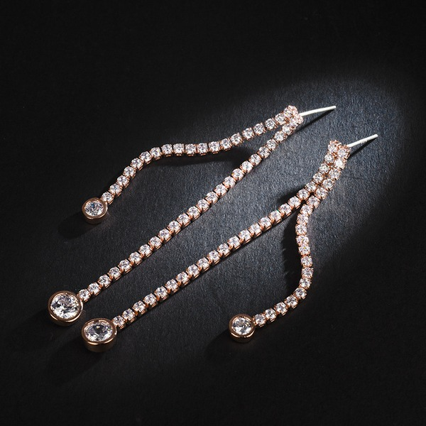 Shining Zircon Copper With Zircon Women's Fashion Earrings (Sold in a single piece)