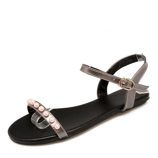 Frauen Kunstleder Flascher Absatz Sandalen Flache Schuhe Peep Toe Slingpumps mit Nachahmungen von Perlen Schnalle Schuhe