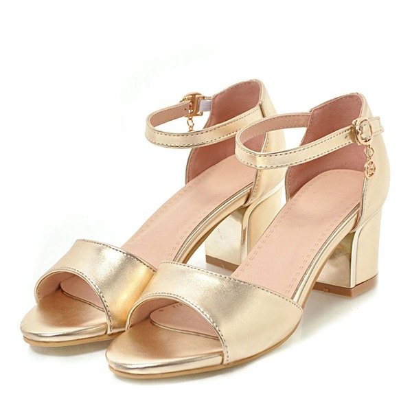 Women's Leatherette Chunky Heel Sandals Pumps Peep Toe With Buckle shoes