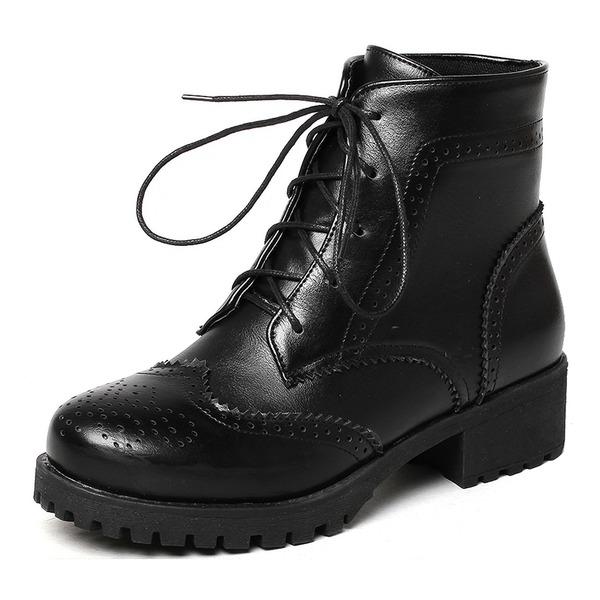 Kvinner Lær Lav Hæl Støvler Mid Leggen Støvler med Blondér sko