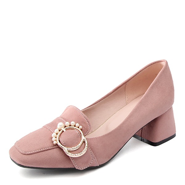 Women's Suede Chunky Heel Pumps With Pearl shoes