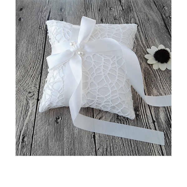 Square Ring Pillow in Satin/Lace With Ribbons/Faux Pearl/Lace
