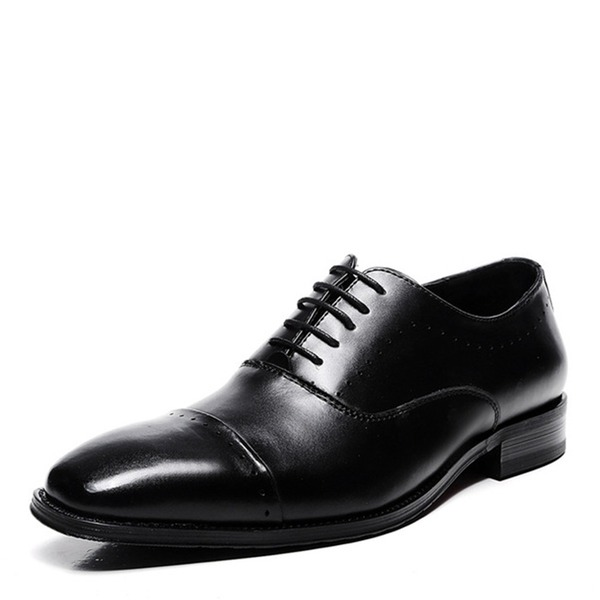 Мужская натуральня кожа Cap Toes шнуровка вскользь Платья Men's Oxfords
