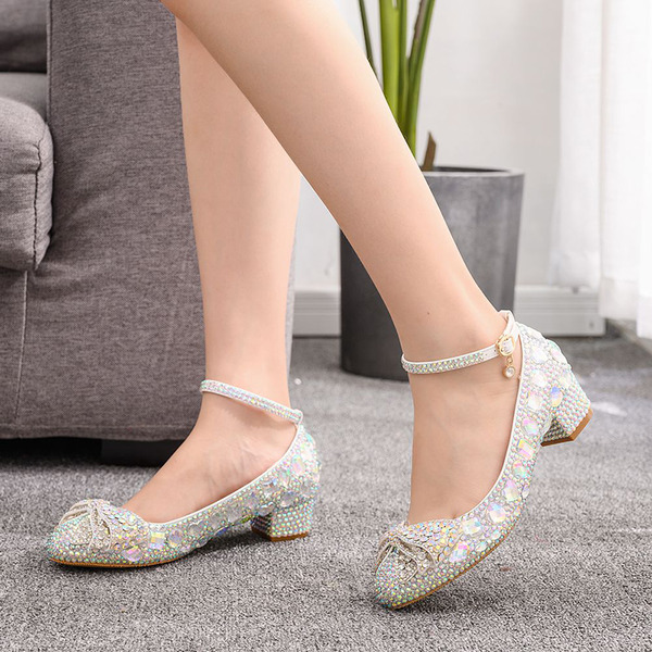 Kids' Leatherette Chunky Heel Closed Toe Pumps MaryJane With Bowknot Sequin