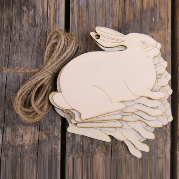 Creative Gifts Classic Easter Rabbit Wooden (Set of 10) Non-personalized Gifts