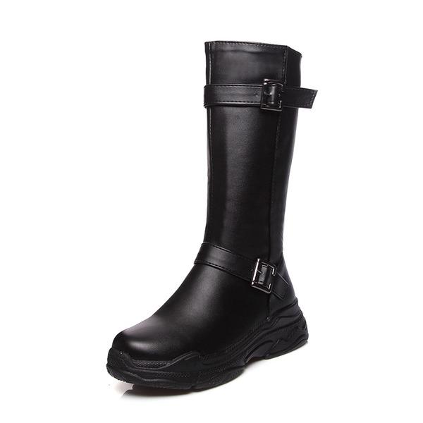 Kvinner Lær Lav Hæl Lukket Tå Støvler Mid Leggen Støvler med Spenne sko